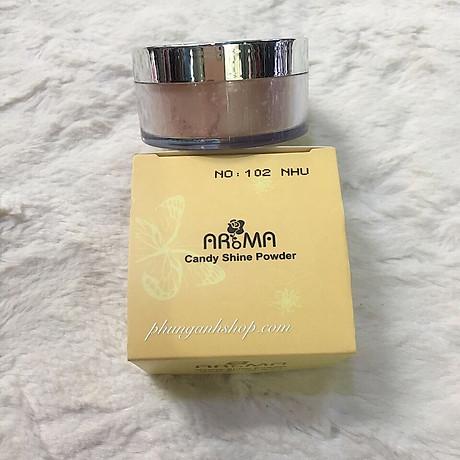 Phấn phủ bột kiềm dầu Aroma Candy Shine Powder Hàn Quốc 10g No.105 Da tự nhiên tặng kèm móc khoá 4