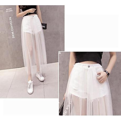 Chân váy maxi jean quần phối ren trắng - CV022 4
