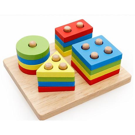 Combo 6 món đồ chơi gỗ an toàn cho bé- phát triển trí tuệ (Đàn gỗ, sâu gỗ, luồn hạt, thả hình 4 trụ, đồng hồ sâu hạt, tháp gỗ) 4