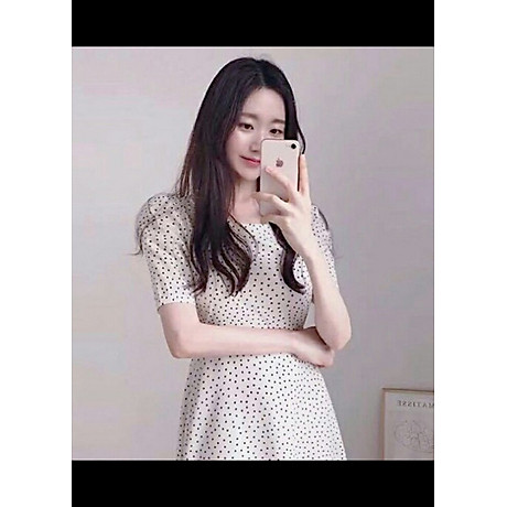 Đầm bi trắng cột nơ V2 2