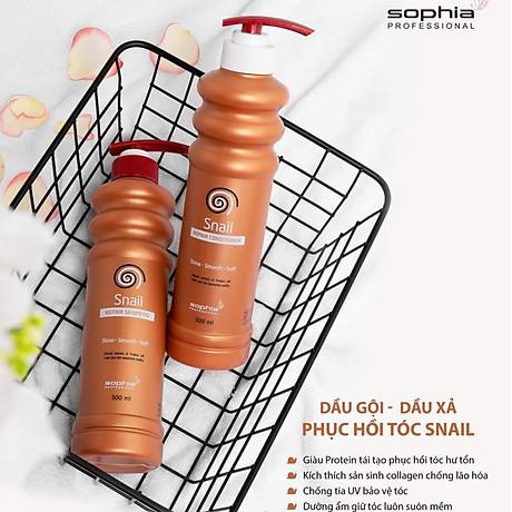 Dầu Gội Siêu Phục Hồi & Lưu Hương Sophia Profesional Snail Repair Shampoo Hàn Quốc 500ml tặng kèm móc khoá 3