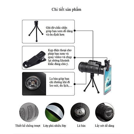 Ống nhòm kẹp điện thoại chụp ảnh một mắt 40X60 (Tặng kèm miếng thép đa năng 11in1) 6