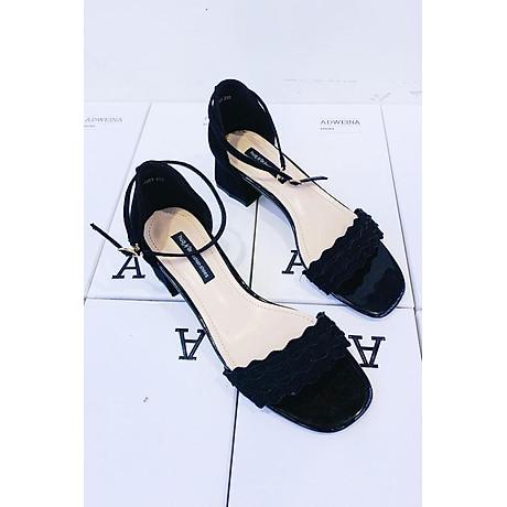 Giày Sandal Cao Gót Nữ Gót Vuông Quai Sóng 1