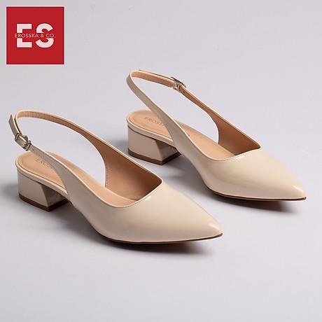 Giày nư , gia y cao gót slingback Erosska mũi nhọn da bóng kiểu dáng basic cao 4cm - EL012 1