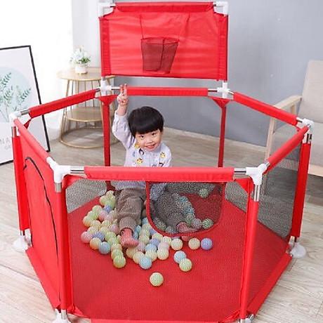 Quây bóng cho bé, Nhà bóng cho bé có GIỎ BÓNG GIỔ, Lều bóng lục giác khung inox 1,4m2 1