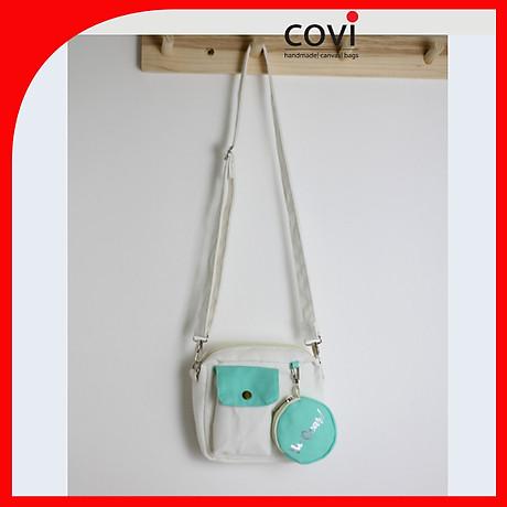 Túi đeo chéo vải canvas phom vuông phối túi tròn trước thời trang COVI nhiều màu sắc T 25 3