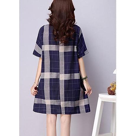Đầm suông kẻ ô vuông tay cánh rơi form rộng LAHstore, chất vải thô mềm mát, thích hợp mùa hè, thời trang phong cách Hàn Quốc 2