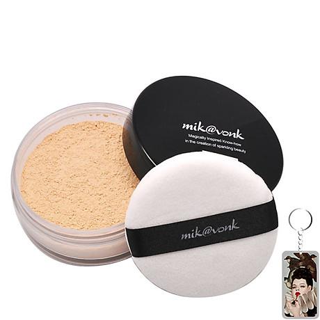 Phấn phủ bột kiềm dầu Mik vonk Blooming Face Powder Hàn Quốc 30g NB21 Light Beige Pearl tặng kèm móc khoá 1