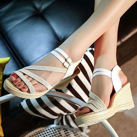 Giày Sandal Nữ Đế Suồng 7P Quai Cói - Đen 3