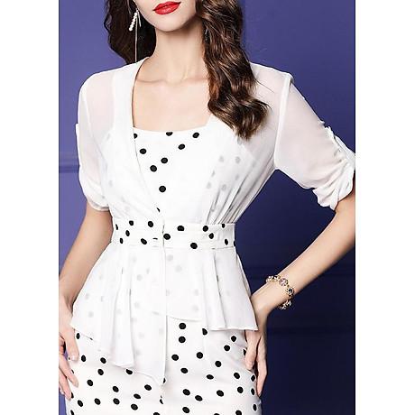 Đầm ôm dự tiệc kiểu đầm ôm chấm bi hai dây xẻ lai phối áo khoác ROMI 3100 5