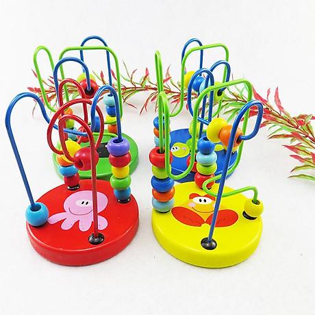 Combo 7 món đồ chơi cho bé phát triển trí tuệ (Đàn gỗ, tháp gỗ, luồn hạt, sâu gỗ, đồng hồ gỗ, thả hình 4 trụ, lục lạc tròn ) 6