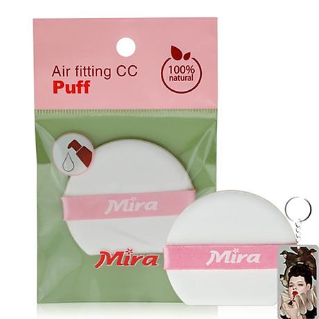 Bông phấn nước Mira quai hồng bịch 1 miếng tặng kèm móc khóa 1