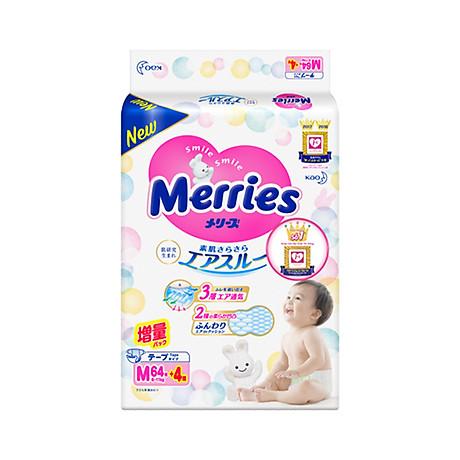 Tã bỉm dán Merries size M - 64 + 4 miếng (Cho bé 6 - 11kg) 1