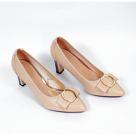 Giày cao gót nữ, cao 7CM, da Microfiber nhập khẩu cao cấp êm ái. Mũi nhọn, gót trụ bọc miếng kim loại vững BL.P5306.7F 2
