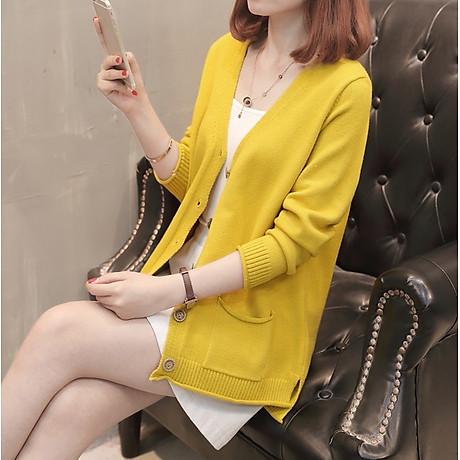 Áo cardigan len nữ 2 túi trước thời trang phong cách Hàn Quốc DV15 2