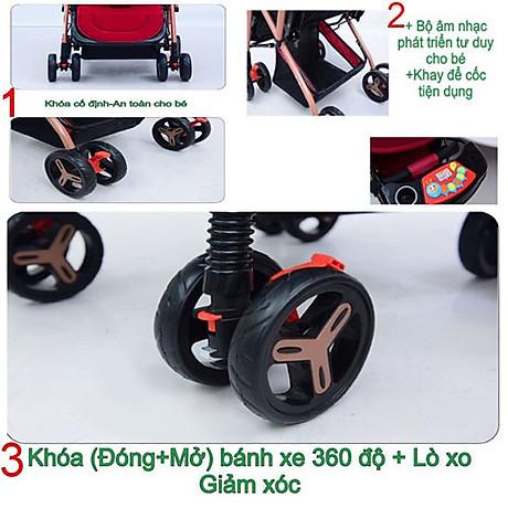 Xe đẩy cho bé HUAYING ,Xe đẩy em bé 2 chiều 3 tư thế màu đỏ,màu xanh,màu kaki,màu hồng 5