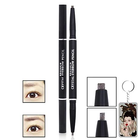 Chì kẻ mày Beauskin Crystal Eyebrow Pencil Hàn Quốc 01 Black tặng móc khóa 1