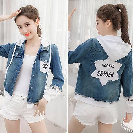 Áo Khoác Jeans Nữ Xanh Phối Trắng 5