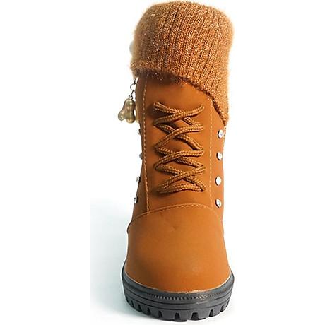 Giày boot nữ đế vuông S106 (Nâu) êm chân, phù hợp đi bộ, đi chơi. 3