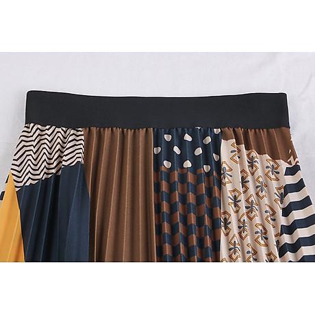 Chân váy xếp ly Vintage dáng dài chất không nhăn VAY35 phối nhiều màu (Free size) 5