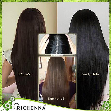 Combo 4 hộp Thuốc nhuộm tóc phủ bạc thảo dược Richenna Hàn Quốc màu nâu đen 2