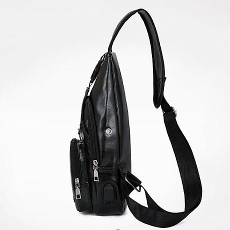 Túi đeo chéo nam da PU tiện dụng-đen 5