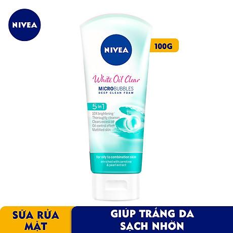 Sữa rửa mặt NIVEA White Oil Clear giúp trắng da sạch nhờn (100g) - 84951 2
