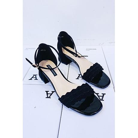 Giày Sandal Cao Gót Nữ Gót Vuông Quai Sóng 2