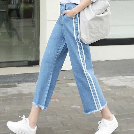 Quần Jeans Nữ Ống Rộng Phối Sọc 235 2