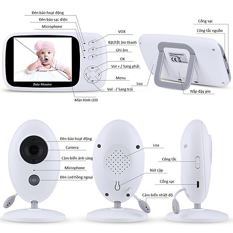 Máy báo khóc màn hình 3.5inch XF80 ( XOAY 360 ĐỘ TIỆN LỢI ) 2