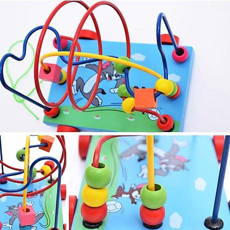 Đồ chơi xe gỗ, game xâu chuỗi luồn hạt gỗ, đồ chơi gỗ xâu chuỗi hạt rèn kỹ năng khéo léo cho bé giúp trẻ kích thích giác quan một cách toàn diện Tặng Kèm Móc Khóa 4Tech. 1