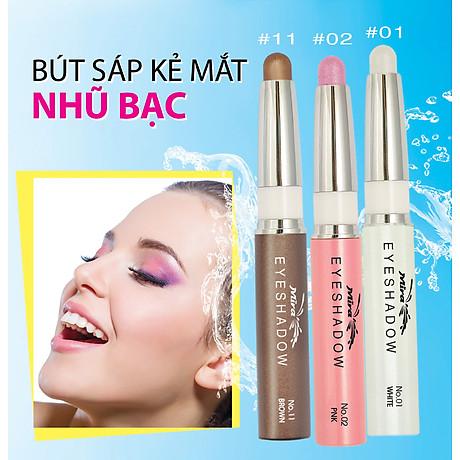 Bút sáp kẻ mắt nhiều màu nhũ bạc Mira Eyeshadow Hàn Quốc 1.5g No.11 Màu nâu tặng kèm móc khoá 4