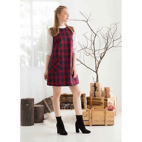 Đầm Caro - Đỏ (Free Size) 3