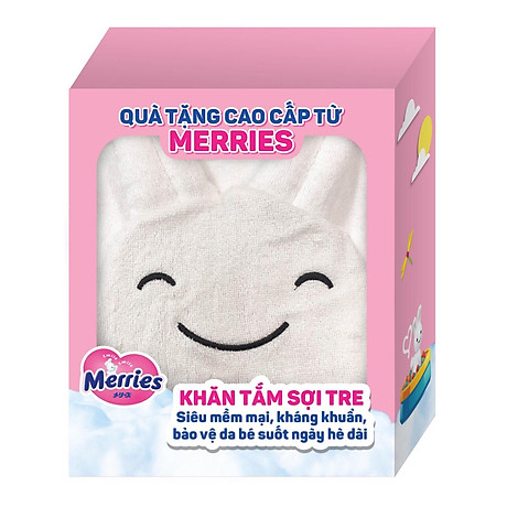 Combo 2 Tã Dán Merries M64 tặng khăn tắm sợi tre hình thỏ đáng yêu và đồ chơi tắm Toys House 5