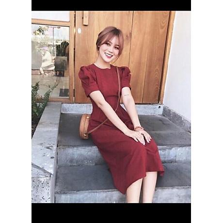 Đầm Caro Đỏ Tay Xếp Li Form Dài 2