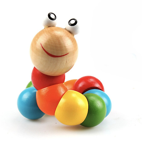 Combo 6 món đồ chơi gỗ an toàn cho bé- phát triển trí tuệ (Đàn gỗ, sâu gỗ, luồn hạt, thả hình 4 trụ, đồng hồ sâu hạt, tháp gỗ) 5