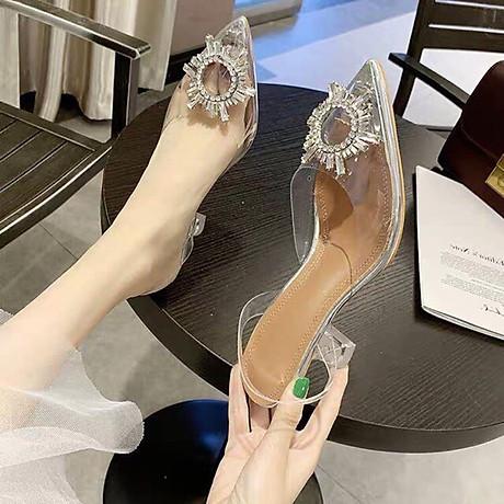 Giày Sandal Nữ Cao Gót Hoa Mặt Trời Trong Suốt Gót 5p Êm Chân kèm Tất Vớ Da Chân - Giày cao gót nữ quai trong hoa đá- mũi nhọn sang chảnh 7