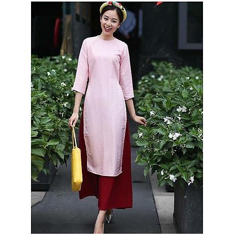 Áo dài cách tân nấm hoa set kèm quần lụa ( hồng ) 1