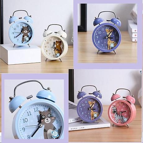Đồng hồ báo thức CHUÔNG ĐÔI TO, có đèn, đồng hồ kim loại phong cách cổ điển 2