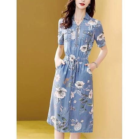Đầm Jean Họa Tiết Bo Eo 2