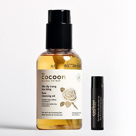 Combo dầu tẩy trang hoa hồng cocoon 140ml + Son dưỡng môi cocoon 5g 1
