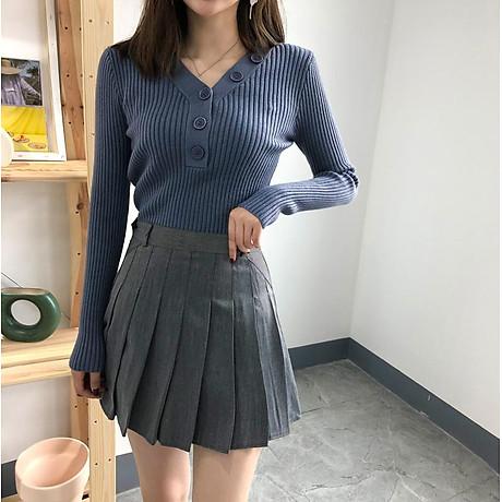 Áo len nữ phối dãy cúc cách điệu Haint Boutique al59 3