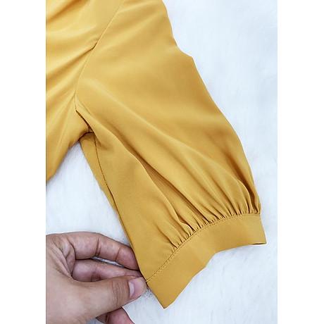 Áo sơ mi công ở kiểu áo sơ mi nữ xếp ly kèm phụ kiện ROMI 3099 5