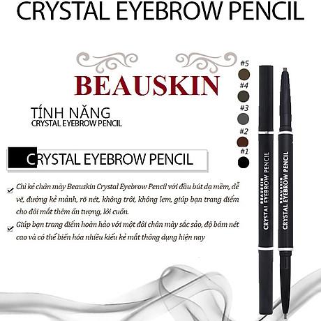 Chì kẻ mày Beauskin Crystal Eyebrow Pencil Hàn Quốc 01 Black tặng móc khóa 3