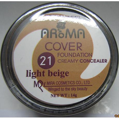 Kem che khuyết điểm Aroma Cover Foundation Hàn Quốc 14g No.21 Light Beige tặng kèm móc khoá 7