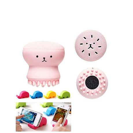 Cọ Rửa Mặt Bạch Tuộc tặng giá đỡ điện thoại hình voi con cho bạn cảm giác Massage Thư giãn mọi lúc 2