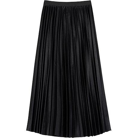 Chân váy thun xếp ly, dài qua đầu gối. Freesize 4