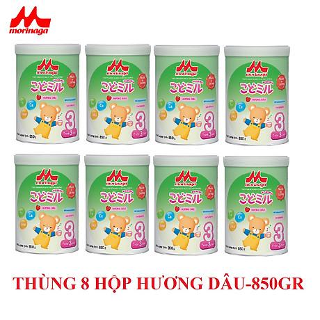 Thùng 8 hộp sữa Morinaga số 3 Koddomil 850gr- hương dâu (tách đai) 1