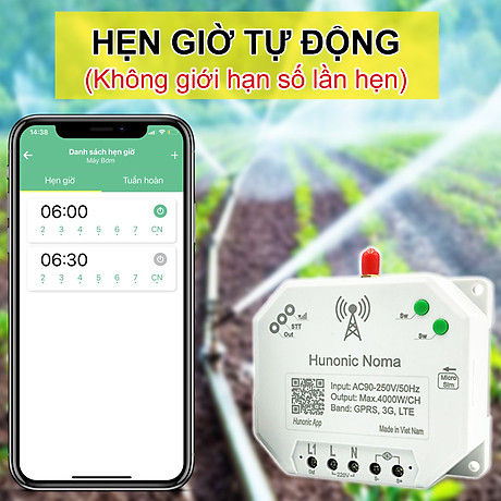Công tắc thông minh Hunonic Noma Điều khiển mọi thiết bị từ xa qua điện thoại dùng sim- Hàng Việt Nam Chất Lượng Cao 3