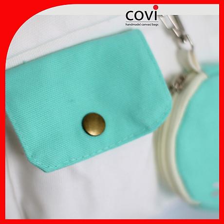 Túi đeo chéo vải canvas phom vuông phối túi tròn trước thời trang COVI nhiều màu sắc T 25 1